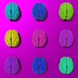 Set of 3d stylized low poly brains illustration royalty free illustration