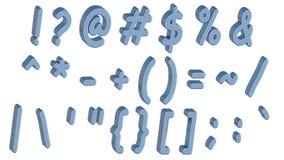 Set 3D symbole w komiczkach projektuje błękitnej chrzcielnicy, odizolowywającej w białym tle Łatwy używać Fotografia Royalty Free