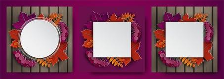 Set 3d sztandary, jesień liście dla sztandaru, plakat, dziękczynienia kartka z pozdrowieniami, zaproszenie projekt Sezon jesienny royalty ilustracja