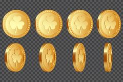 Set of 3d three-leaf clover coins. Set of 3d three-leaf clover golden coins. Elements for Saint Patrick`s day. Isolated on transparent background. Vector Stock Photo