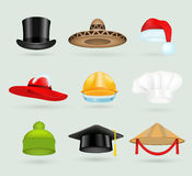 Set of 3d top hats different proffesions Royalty Free Stock Image