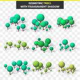 Set 3D trees in isometry and transparent shadow. Isometric tree Stock Photos