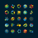 Set of 3d unique abstract icons on black. Set of abstract vector icons Royalty Free Stock Photos