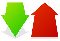 Set of 3d up down arrows in perspective. Green, red arrows. Royalty Free Stock Photography