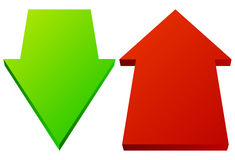 Set of 3d up down arrows in perspective. Green, red arrows. Royalty free vector illustration Stock Photography