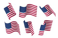 Set of 3d USA waving flag. Isolated on white, vector illustration. Set of 3d USA waving flag. Isolated on white. Vector illustration Stock Photos