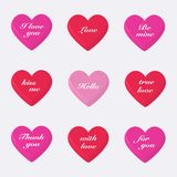 Set of  3d valentines  hearts. On  gray background.Vector illustration Royalty Free Stock Image
