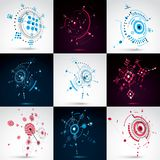 Set of 3d vector abstract backgrounds created in Bauhaus retro s. Tyle. Geometric composition can be used as templates and layouts. Engineering technology Stock Photography