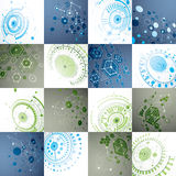 Set of 3d vector abstract backgrounds created in Bauhaus retro s. Tyle. Geometric composition can be used as templates and layouts. Engineering technology Royalty Free Stock Photography