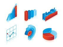 Set of 3d vector charts Stock Photos