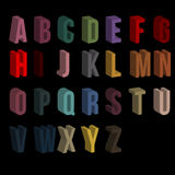 Set of 3d vector colorful alphabet letters. On black background Stock Images
