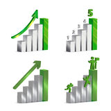 Set of 3d Vector Graphics. 3d vector charts with grey and green metallic and glass bars, arrows ,numbers and icons of men clambering up to success stock illustration