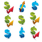 Set of 3d vector green dollar signs with different arrows. Stock Photos