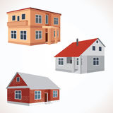Set of 3D Vector House Icons. Buildings Set Royalty Free Stock Photos