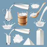 Set of 3D vector milk splash and pouring. Icons traditional packaging for milk and milk products. Realistic style Stock Photos