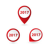 Set of 3D vector pointer. With the number of new year 2017 Stock Photos