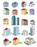 Set 3d wyszczególniał budynki z różnymi typ perspektywa: drapacze chmur, nieruchomość domy Zdjęcia Royalty Free