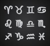 Set of 3D zodiac symbols. White icons on the black background Stock Photo