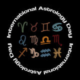 Set of 3d zodiac symbols, vector concept for international astrology day Stock Photo