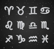 Set of 3D zodiac symbols. White icons on the background of black starry sky Royalty Free Stock Photo