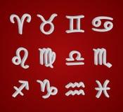 Set of 3D zodiac symbols. White icons on the background of dark blue starry sky Stock Photos