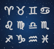 Set of 3D zodiac symbols. White icons on the background of dark blue starry sky Royalty Free Stock Photos