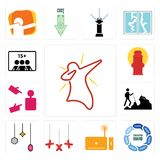 Set of dab, discussion board, set top box, xxx, christmas bulb, hiker, advisor, fire hydrant, number players icons. Set Of 13 simple  icons such as dab Stock Photography