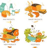 Set of dairy, meat, vegetables and bakery products Royalty Free Stock Photo