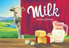 Set of dairy products and cow. Royalty Free Stock Images