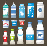 Set of dairy products Stock Images