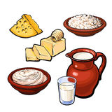 Set of dairy products Royalty Free Stock Images
