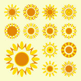 Set of daisy icons isolated. Silhouettes of simple vector flowers Royalty Free Stock Photos