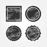 Set of damaged black backgrounds. Grunge. Round and square broken frames. Four isolated templates for design. Vector illustration Royalty Free Stock Images