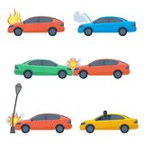 Set of damaged cars crashed in street lamp, accident collided. Set of damaged cars isolated on white. Crashed in street lamp, auto in fire or smoke, stolen Royalty Free Stock Images