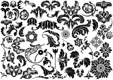 Set of Damask Floral Reliefs Royalty Free Stock Photos