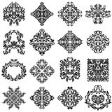Set of damask ornaments for design use. Elegant floral and vintage elements. Embellishments isolated on white background. Oriental style. Perfect for stock illustration