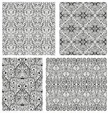 Set of Damask seamless patterns. Vector illustration stock illustration