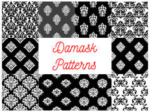 Set of damask seamless patterns. Vector stylized decorative floral patterns of damask style. Decoration tiles with graphic flowery pattern on and background Stock Photography