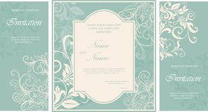 Set of damask wedding invitation card Stock Images