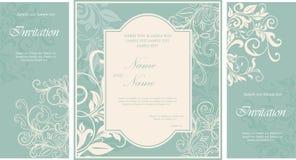 Set of damask wedding invitation card. Damask wedding invitation floral card Stock Images