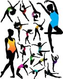 Set Dance girl ballet silhouettes  Royalty Free Stock Images