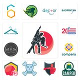 Set of dance studio, camper, boxing club, skull and crossbones, football helmet, free, tiara, 20 anniversary, dry cleaning icons. Set Of 13 simple  icons such as Stock Image