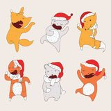Set with dancing animals in christmas hoods. Wild animals hand drawn with closed eyes in cute poses drawn with bright colors.  Royalty Free Stock Photography