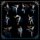 Set of dancing ballerinas 1 Royalty Free Stock Photography