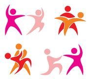 Set of dancing couple symbols. Stock Photos