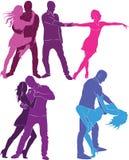 Set  of dancing couples. Stock Photos