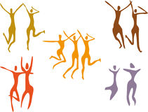 Set of dancing figures. Set of Abstract colorful dancing figures Stock Photo