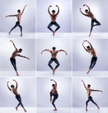 Set of dancing man. Ballet dancers collection Stock Photos