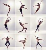 Set of dancing men.  Ballet dancers collection Stock Image