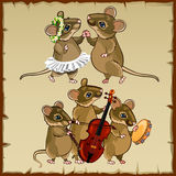 Set of dancing mice and musicians Royalty Free Stock Images